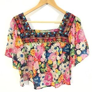 Johnny Was Floral Silk Embroidered Blouse Top